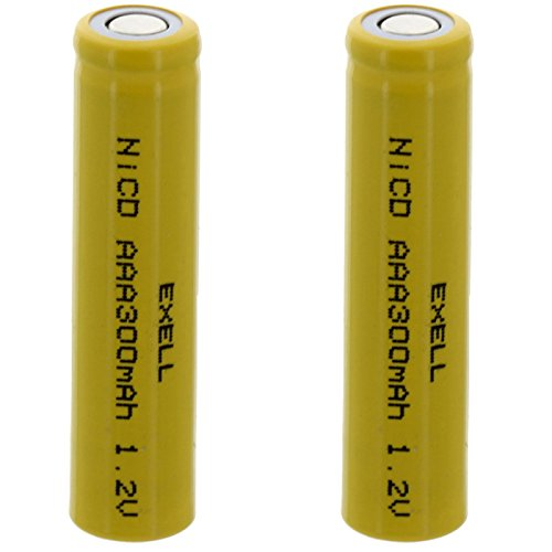 - 2x Exell AAA 1.2V 300mAh NiCD Flat Top Rechargeable Batteries for meters, radios, hybrid automobiles, high power static applications (Telecoms, UPS and Smart grid), radio controlled devices