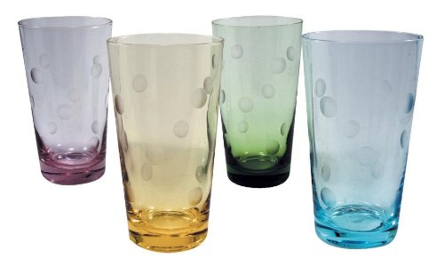 Artland 65042A Polka Dot Hiball Glass, 20 oz, Multicolored, Set of 4