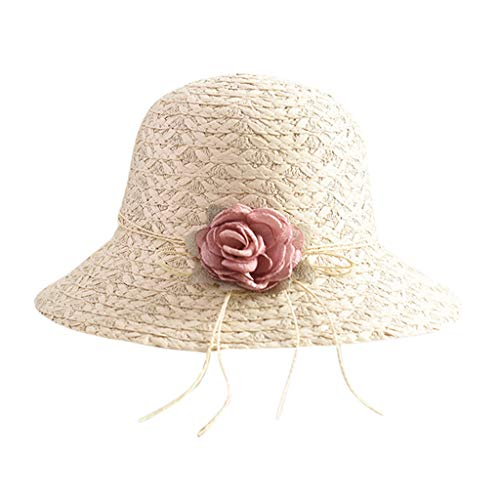 Geetobby Flower Summer Packable Large Wide Sun Beach Hat for Women Hand Woven Straw Hat UPF50+