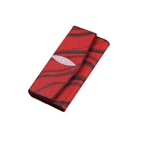 Zebra Print Checkbook Wallet - HYSENM Women Leather Wallet Tri-fold Fashionable Zebra Print Purse Clutch, Red2