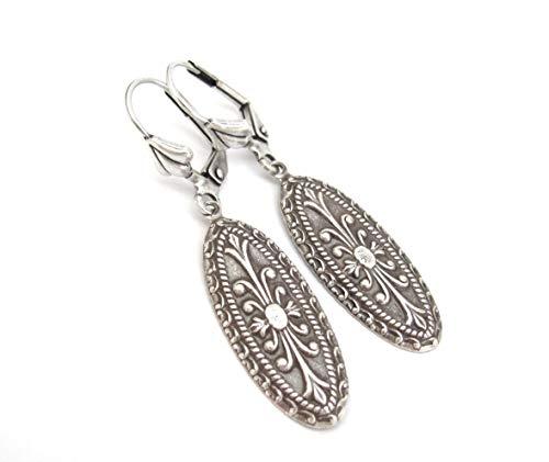 Nouveau Brass Chandelier - Art Nouveau Antiqued Brass Earrings Silver-tone Dangle Drop Art Deco Bridesmaid Gift Bridal Wedding Jewelry
