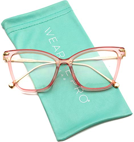 Metal Prescription Eyeglasses - WearMe Pro - New Elegant Oversized Clear Cat Eye Non-Prescription Glasses (Pink Frame, 52)