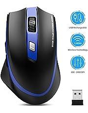 TedGem Draadloze muis, 2,4 G opladen draadloze muis, draadloze muis, laptop muis met USB nano-ontvanger, 6 toetsen, 5 instelbare dpi, voor pc/tablet/laptop en Windows/Mac/Linux (opladen en rustig) blauw