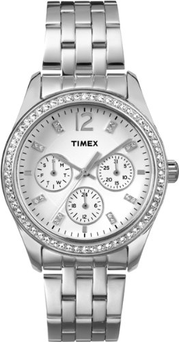 Timex T2P192 Ladies Chrome Multi Watch with Crystals