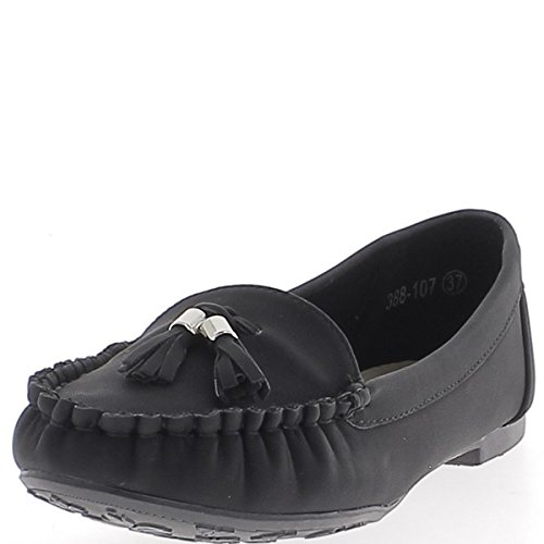 ChaussMoi Black Moccasins Masts Twill Tape 1 cm with Pompoms 4mUenpH