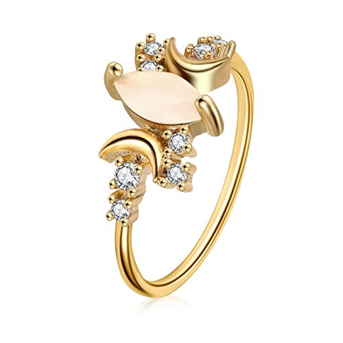 DALARAN Cubic Zirconia Ring for Women Marquise Opal Solitaire Rings Gold Copper Band Size ()