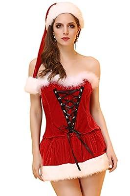 Vivihoo Christmas Plush Dress Halloween Robe Set Tight Skirts Women's Sexy Costume
