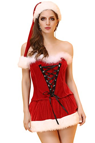 Vivihoo Christmas Plush Dress Halloween Robe Set Tight Skirts Women's Sexy Costume Medium (Naughty Santa Helper Outfits)
