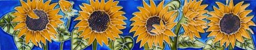 (Sunflowers - Decorative Ceramic Art Tile - 3