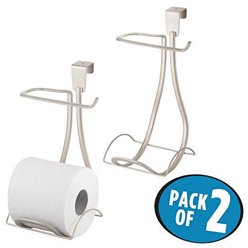 mDesign Over the Tank Toilet Tissue Paper Roll Holder and Dispenser for Bathroom Storage – Hanging, Holds one Extra Roll - Pack of 2, Durable Metal Wire in Satin (Toilet Roll Caddy)