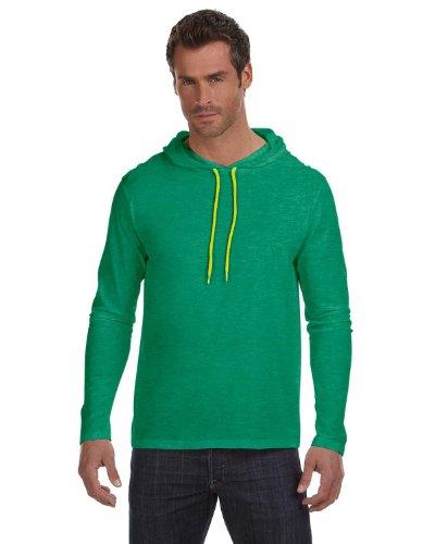 T-shirt Hood Yellow - Anvil Lightweight Long Sleeve Hooded T-Shirt. 987 Medium Heather Green / Neon Yellow