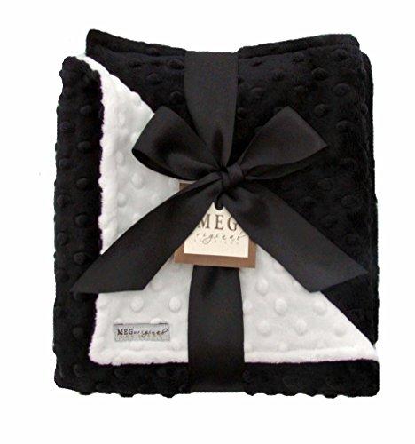 Dot Minky New (MEG Original Baby Blanket, White and Black Minky Dot, 1681)