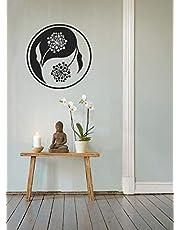 Glitched Yin Yang Wall Mural / Wall Sticker Chinese Spiritual Vinyl Home Decor Black Trippy