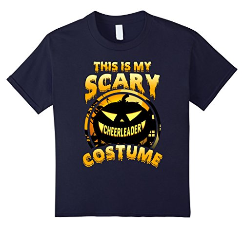 Kids This Is My Scary Cheerleader Costume Halloween Gift T-shirt 12 Navy (Halloween Costumes Play On Words)