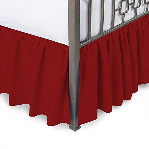 (MD Home Decore Burgundy Solid, Full Size Ruffled Bed Skirt, 14 Inch Drop with Split Corners 100% Cotton-600 Thread Count, Easy Fit Gathered Style, 3 Sided Coverage)