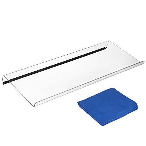 Computer Keyboard Stand with Rubber Strip and Cloth - Clear Ergonomic Stand, Acrylic Tilled Riser for Typing and Computer Gaming (Tilted Keyboard Stand)