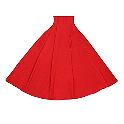 Taiduosheng Women Stretch High Waist Skater Flared Pleated Swing Long Skirt Dress