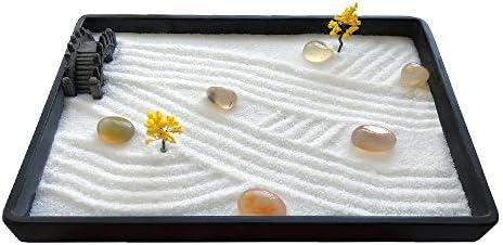 ICNBUYS Mini jardín Zen con Bandeja Gratis, Arena, rastrillo, bolígrafo de Dibujo, bolígrafo de Arena empujando y guía de Dibujo de jardín Zen Dimensiones 7.9 x 5.5 x 0.4 Pulgadas: Amazon.es: Hogar