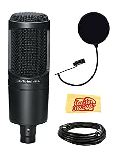Audio-Technica AT2020 Side Address Cardioid Condensor Studio Microphone Bundle with Pop Filter, XLR Cable, and Polishing Cloth