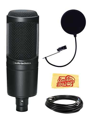 Condenser Studio At2020 Audio Technica (Audio-Technica AT2020 Side Address Cardioid Condensor Studio Microphone Bundle with Pop Filter, XLR Cable, and Polishing Cloth)