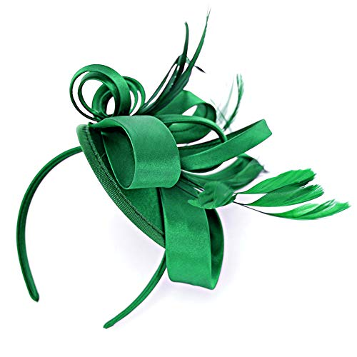 (Green Fascinator Hats for Women Feather Cocktail Party Hats Bridal Kentucky Derby)