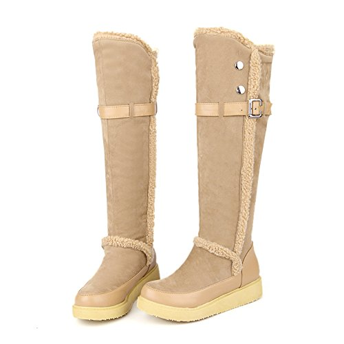 High Womens Fur Boots Boots Snow Flat Winter Knee Beige Elegant AIWEIYi Riding 8qdT8