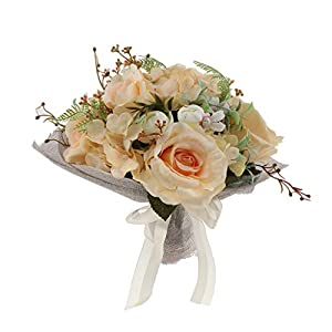 Fityle Romantic Champagne Rose, Wedding Bouquet, Bridesmaid Flower Girl Bouquet Artificial Rose 59