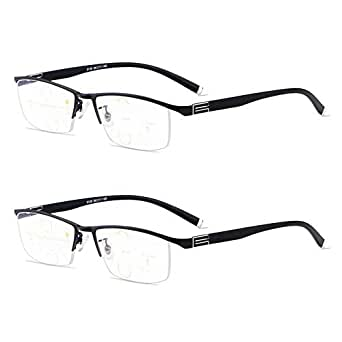 Qi Song Anti Blue Rays Progressive Multifocal Reading Glasses +1.0+1.5+2.0+2.5+3.0+3.5 (2 Pairs (Black), 1.0)