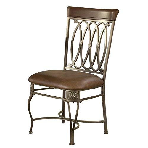 Hillsdale Montello Dining-Chairs, Set of 2 with Brown Faux Leather, Old Steel Finish