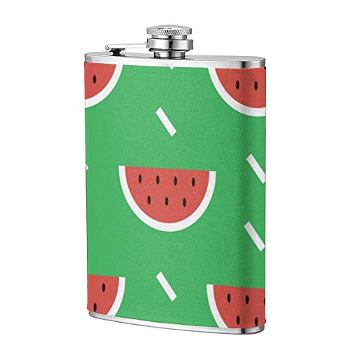 Kjhdgkshdd Watermelons Fruits Stainless Steel Flagon 8 OZ-The Exterior is Made of The Best High-Grade PU Leather, Full Printing, Personality, is The Best Gift for Men.