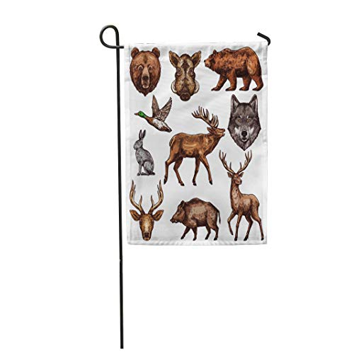 (Semtomn Garden Flag 28x40 Inches Print On Two Side Polyester Animal and Bird Sketch of Wild Forest Bear Deer and Duck Wolf Reindeer Home Yard Farm Fade Resistant Outdoor House)
