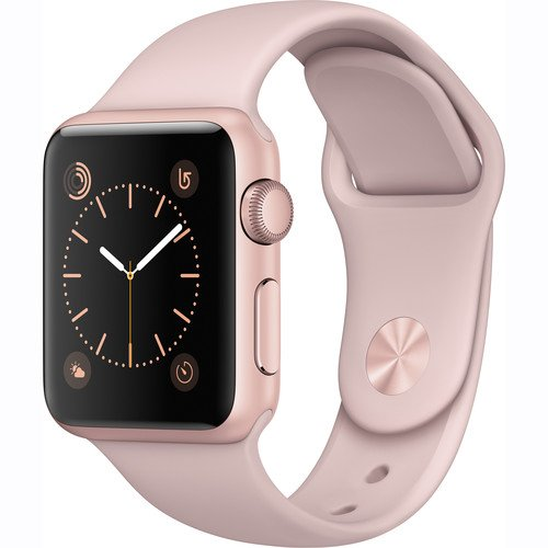 Apple Watch Series 1 Smartwatch 38mm Rose Gold Aluminum Case, Pink Sand...