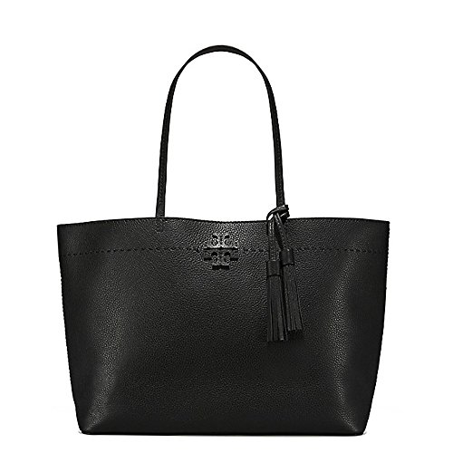 Tory Burch Pebbled Leather McGraw Tote (Black/Royal Navy) by Tory Burch