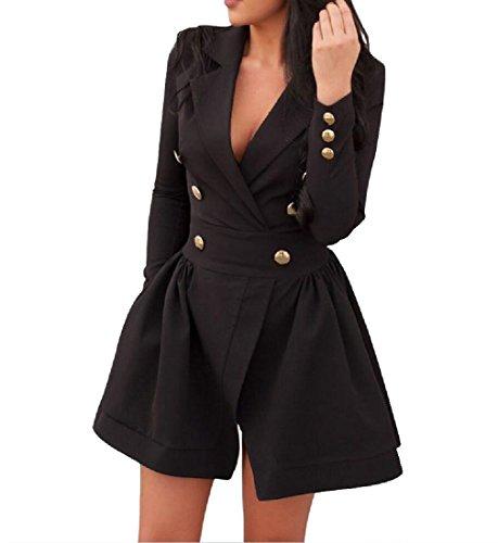 Da Collo V Button Partito Cocktail Nero Vita Coolred Solido Giù Magro donne Vestito In qtrtxz8