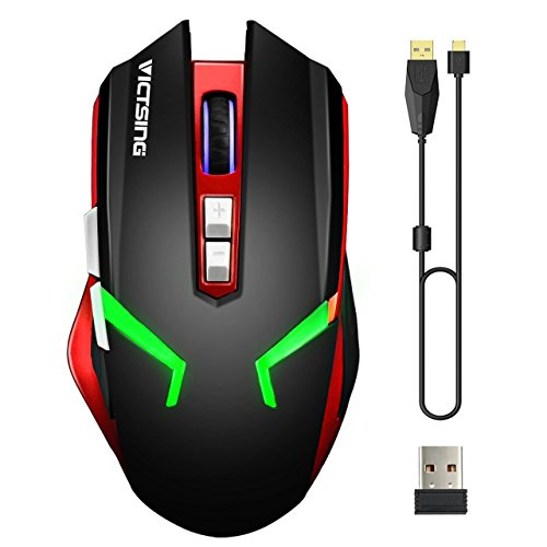 VicTsing Wireless & Wired Rechargeable Gaming Mouse, Dual Mode Mice with 4 Adjustable DPI (Up to 2400) , 7 Buttons, 4 Colors Backlit, Ergonomic Design for PC/Mac/Laptop