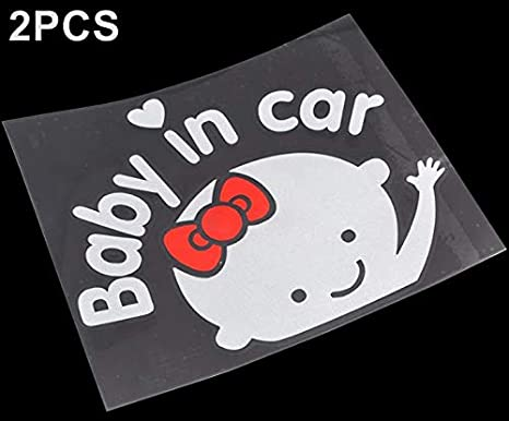 """/""""Baby In Car/"""" Waving Baby on Board Safety Sign Cute Car Decal Vinyl Sticker TO"""