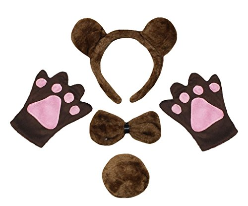 Petitebella Brown Bear Headband Bowtie Tail Gloves Children 4pc Costume (One Size) ()