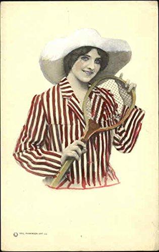 pretty-woman-with-tennis-racket-original-vintage-postcard