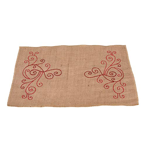 jucos 12 inch x 18 inch Burlap Table Placemats Red Embroidered Christmas Thanksgiving Farmhouse Decor ()