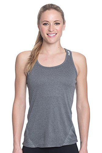 Reebok Women's Scoop Neck Racerback Tank Top in Relaxed Fit - Black/Sharp Green, Extra Small- Charcoal Heather/Grey, Medium