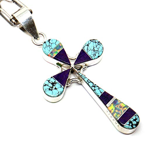 L7 Trading Channel Inlay Reversible Turquoise Cross Pendant by Yazzie Cut Reversible Cross Pendant