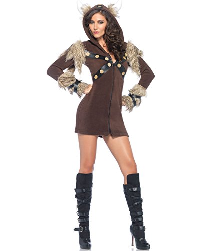 Women's Cozy Viking Costumes (Leg Avenue 85433 Cozy Viking Halloween Costume - Brown - Large)