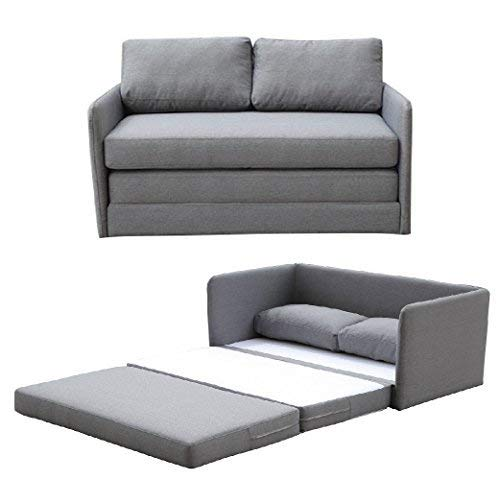 Container Furniture Direct Kathy Collection Modern Contemporary Fabric Upholstered Livingroom Loveseat Sleeper, Grey ()