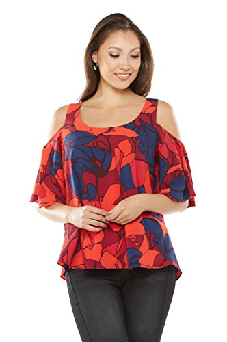 NYGARD SLIMS Petite Cold Shoulder Blouse with Crisscross Back MerlotAbstractFloral PL
