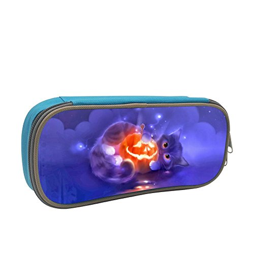 Yumiyah Cute Halloween Cute Pumpkin Head Cat Kids 3D Digital Print Pencil Case Students Stationery Bags Pencil Holders Pen Bag Blue]()