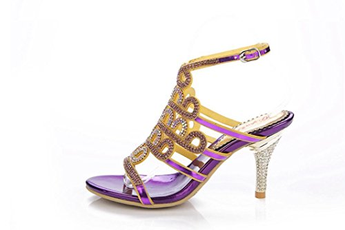 De Fino Sandalias Talón Thin Purple 39 Las Banquete fine Party Púrpura Purplefineheel Rhinestones 8cm Hebilla Heel Belt Señoras Xie 34 Summer x5q1XwdX