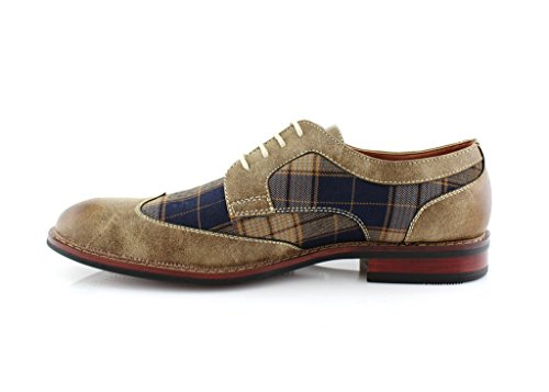 Ferro Aldo M-19266a Mens Lace Up Plaid Oxford Dress Classic Shoes Brown (run Big. Order 1 Size Smaller)