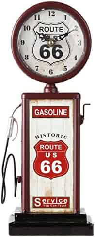 Lily's Home Old Fashioned Route 66 Gas Pump Mantle Clock, Battery Powered with Quartz Movement, Makes an Ideal Gift for Antique Sign Collectors, Brown/Red (13 1/2