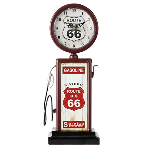 - Lily's Home Old Fashioned Route 66 Gas Pump Mantle Clock, Battery Powered with Quartz Movement, Makes an Ideal Gift for Antique Sign Collectors, Brown/Red (13 1/2