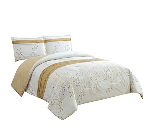 Chezmoi Collection Joy 3-Piece Ivory/Gold Tree Branches Embr